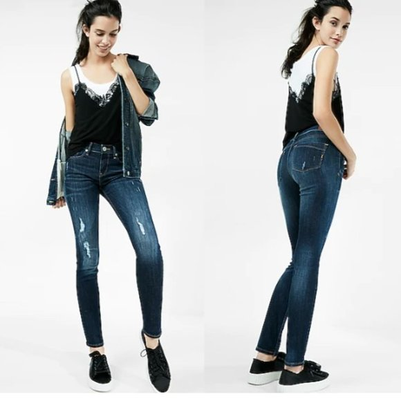 EXPRESS Mid Rise Ripped Super Skinny Jeans